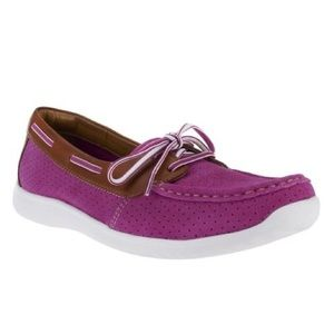 Clarks Pink Tan Arbor Opal Suede Boat Shoe Flat 10